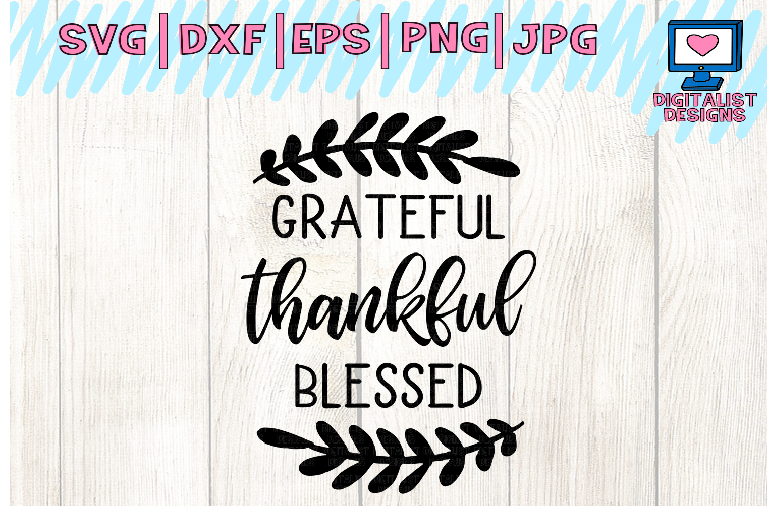 grateful thankful blessed SVG | Thanksgiving SVG example image 2
