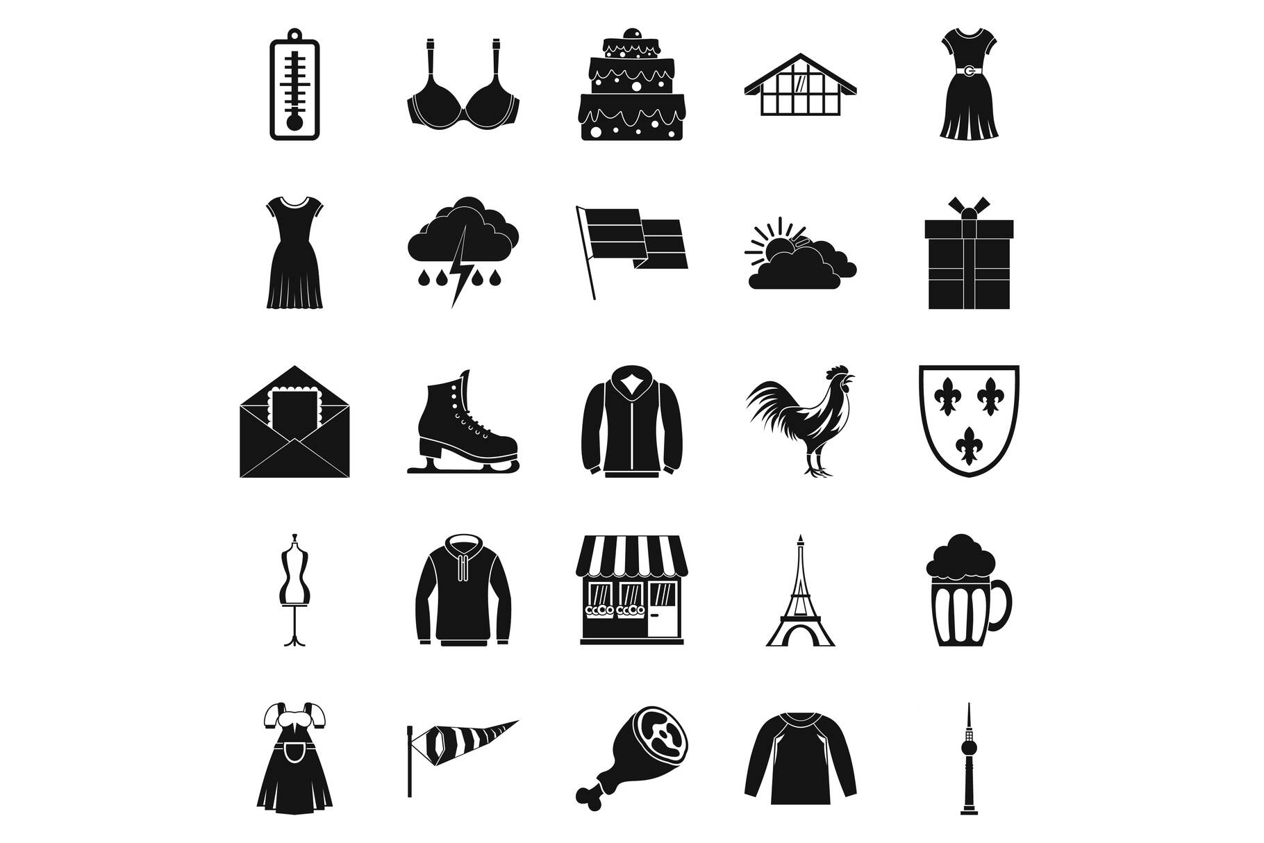 Lightweight clothing icons set, simple style example image 1