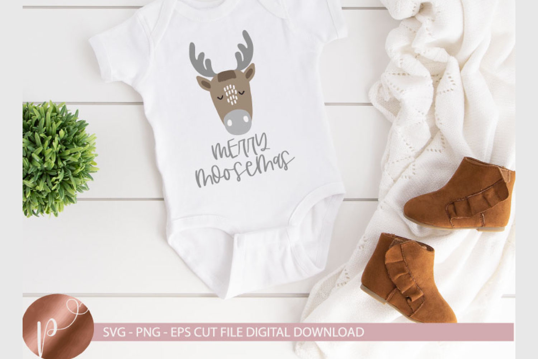 Merry Moosemas Svg Eps Png, Moose Christmas Cut File, Cricut example image 1