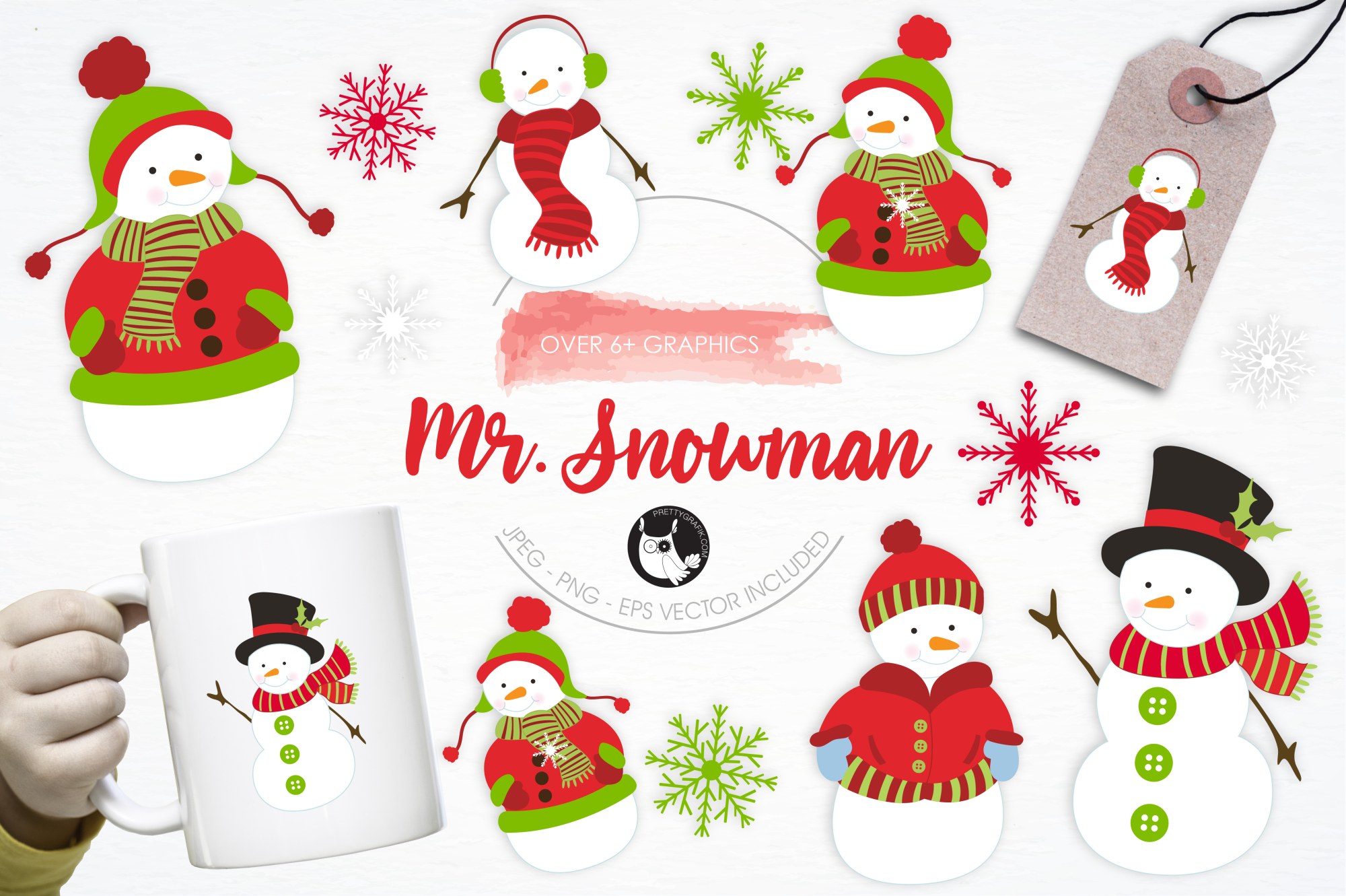 Mr. Snowman graphics and illustrations example image 1