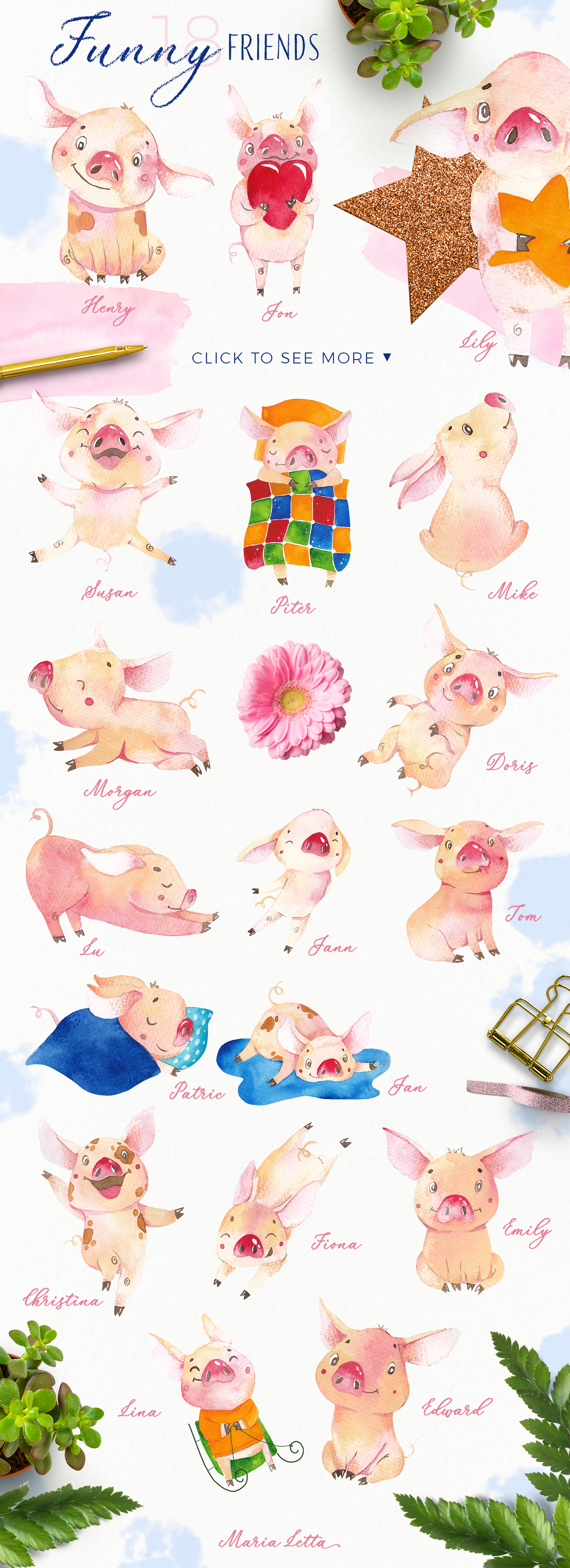 Oh my piggy - watercolor collection example image 2