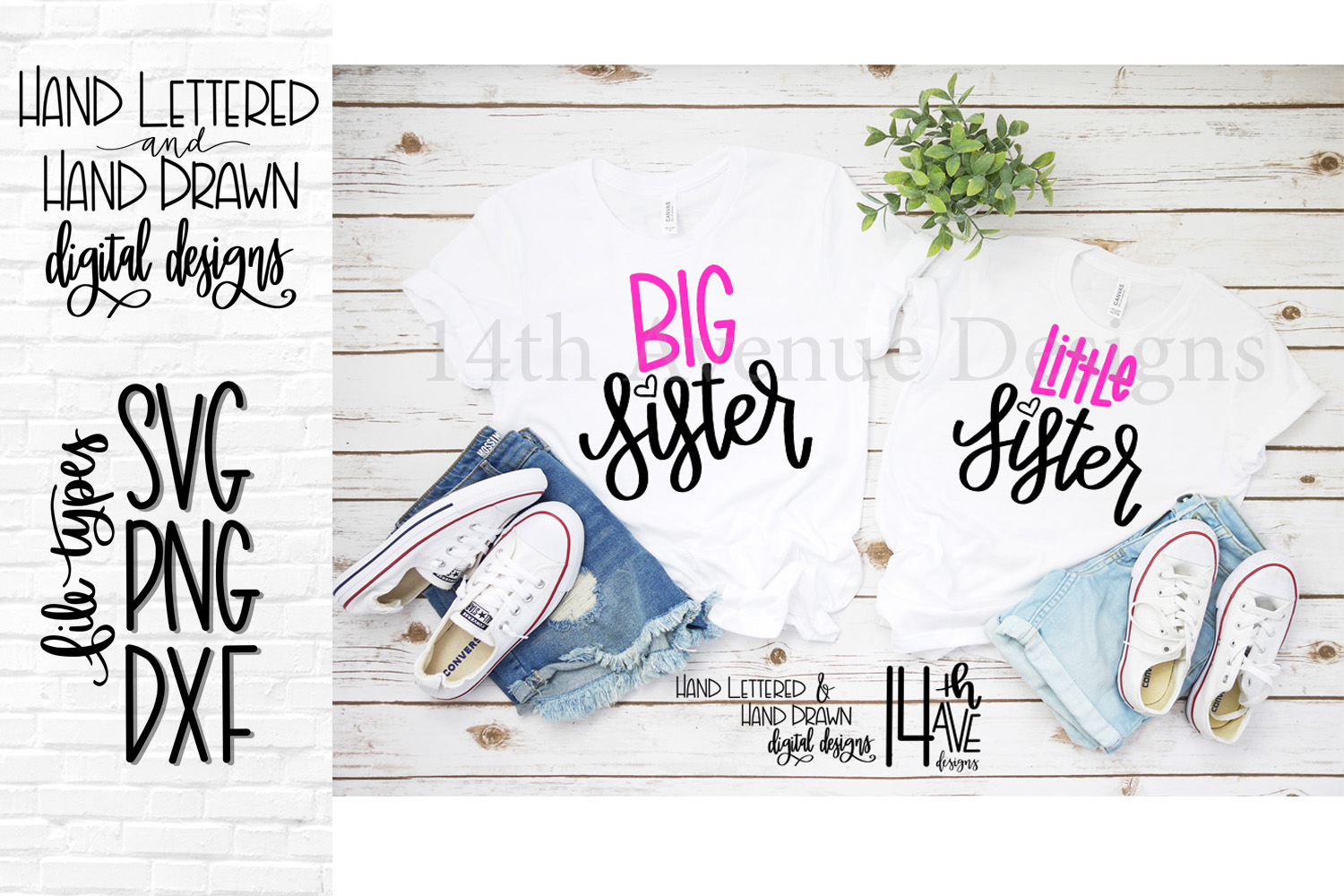 Big Sister and Little Sister SVG, Hand Lettered, Big Sister example image 1