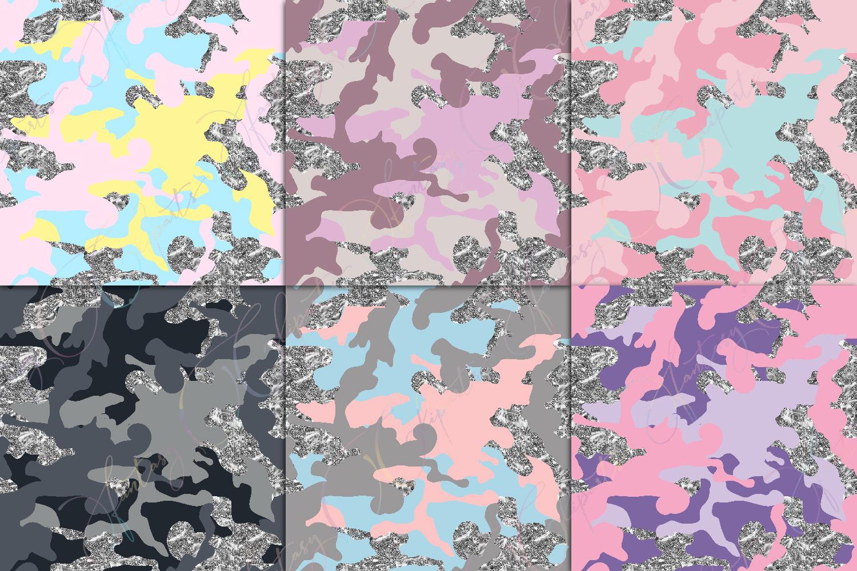 Camo & Silver Glitter Digital Paper example image 4