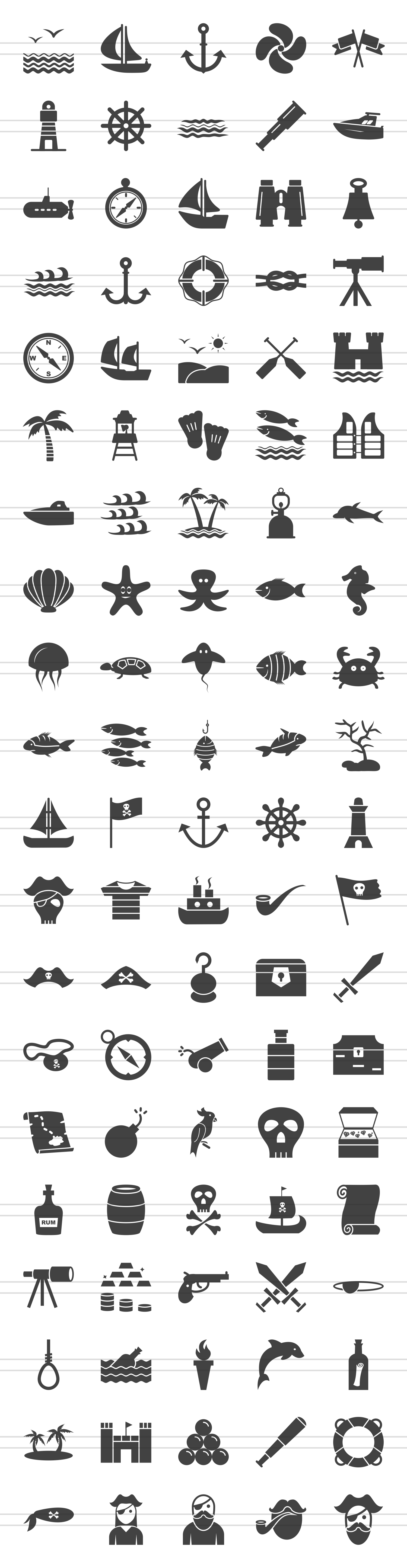 100 Pirate & Sea Glyph Icons example image 2
