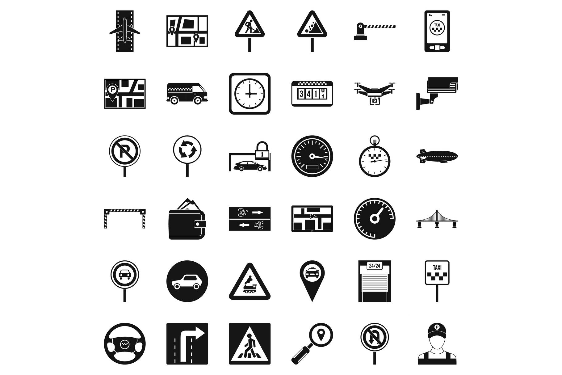 Car in city icons set, simple style example image 1