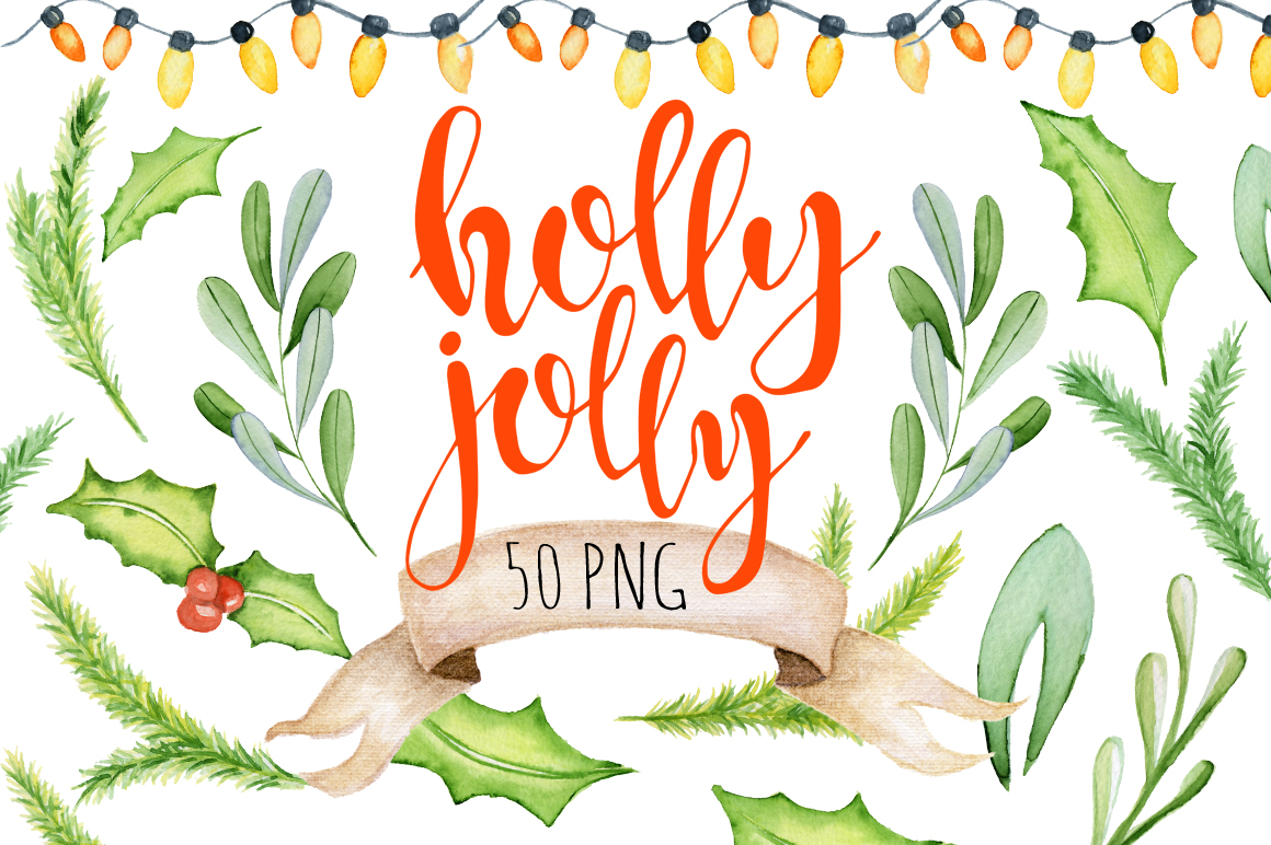 Christmas floral watercolor clipart Holly Jolly example image 1