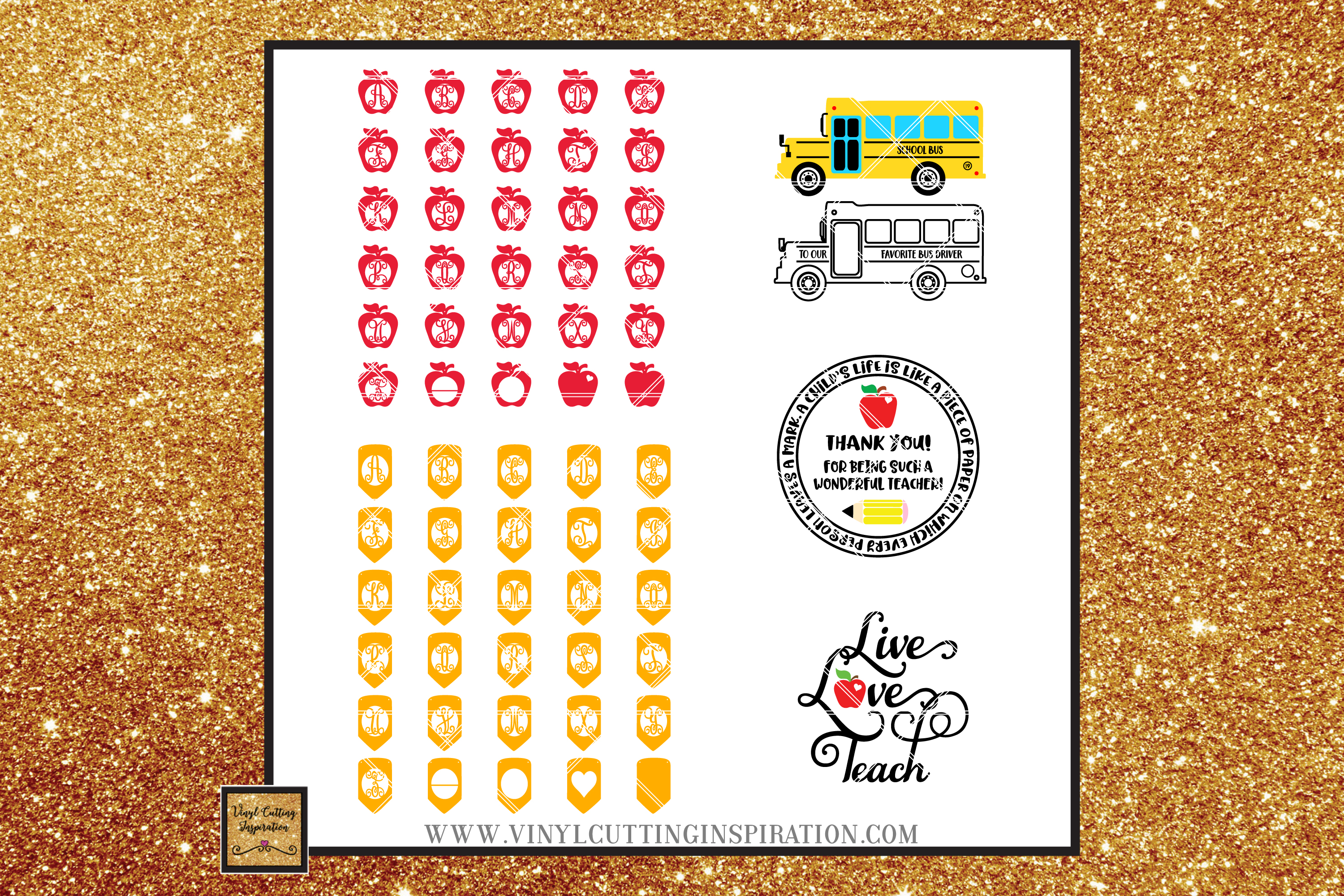 73 DESIGNS!!! Teacher Svg Teacher Appreciation School Bus example image 4