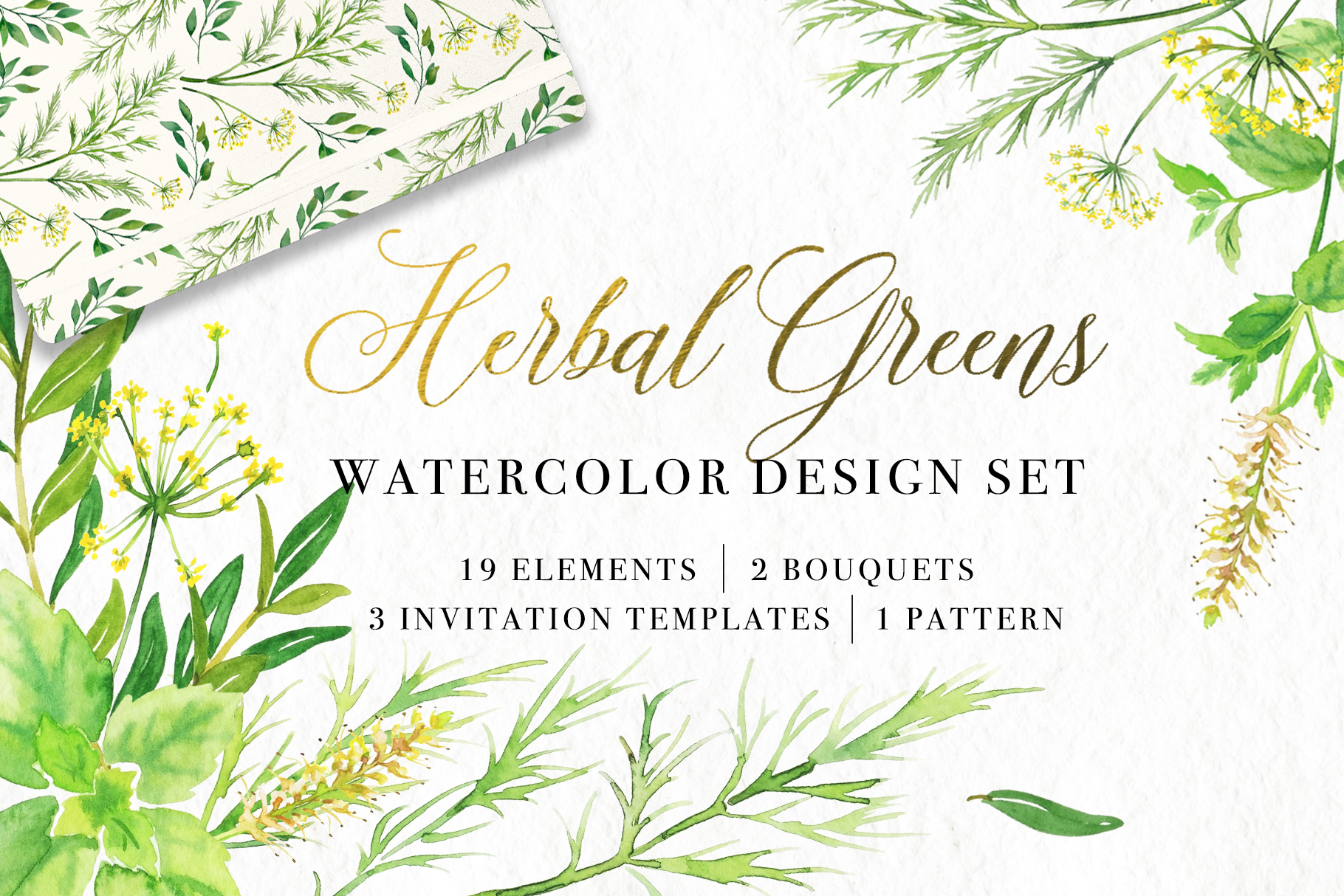 Herbal Greens Watercolor Set example image 1