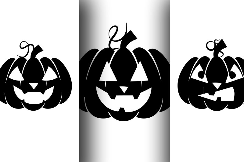 Silhouettes of pumpkins with emotions for Halloween example image 3