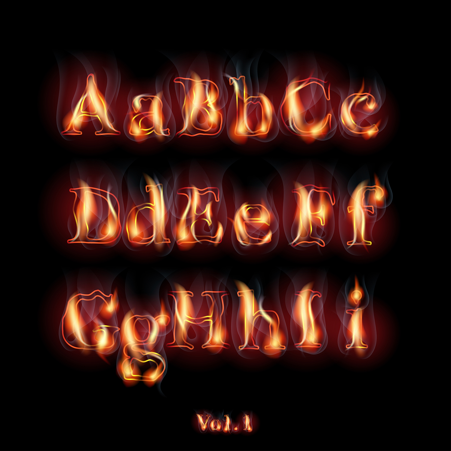 Fire burning alphabet and numbers example image 2