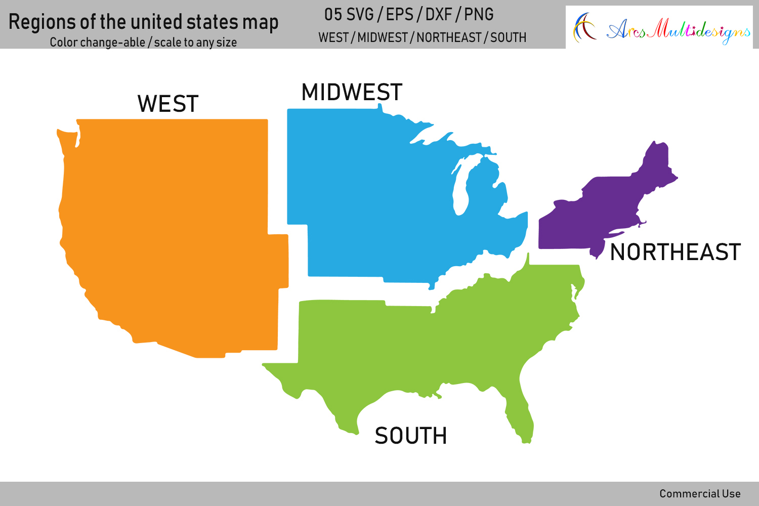 Regions of the united states map vector / united states map example image 1