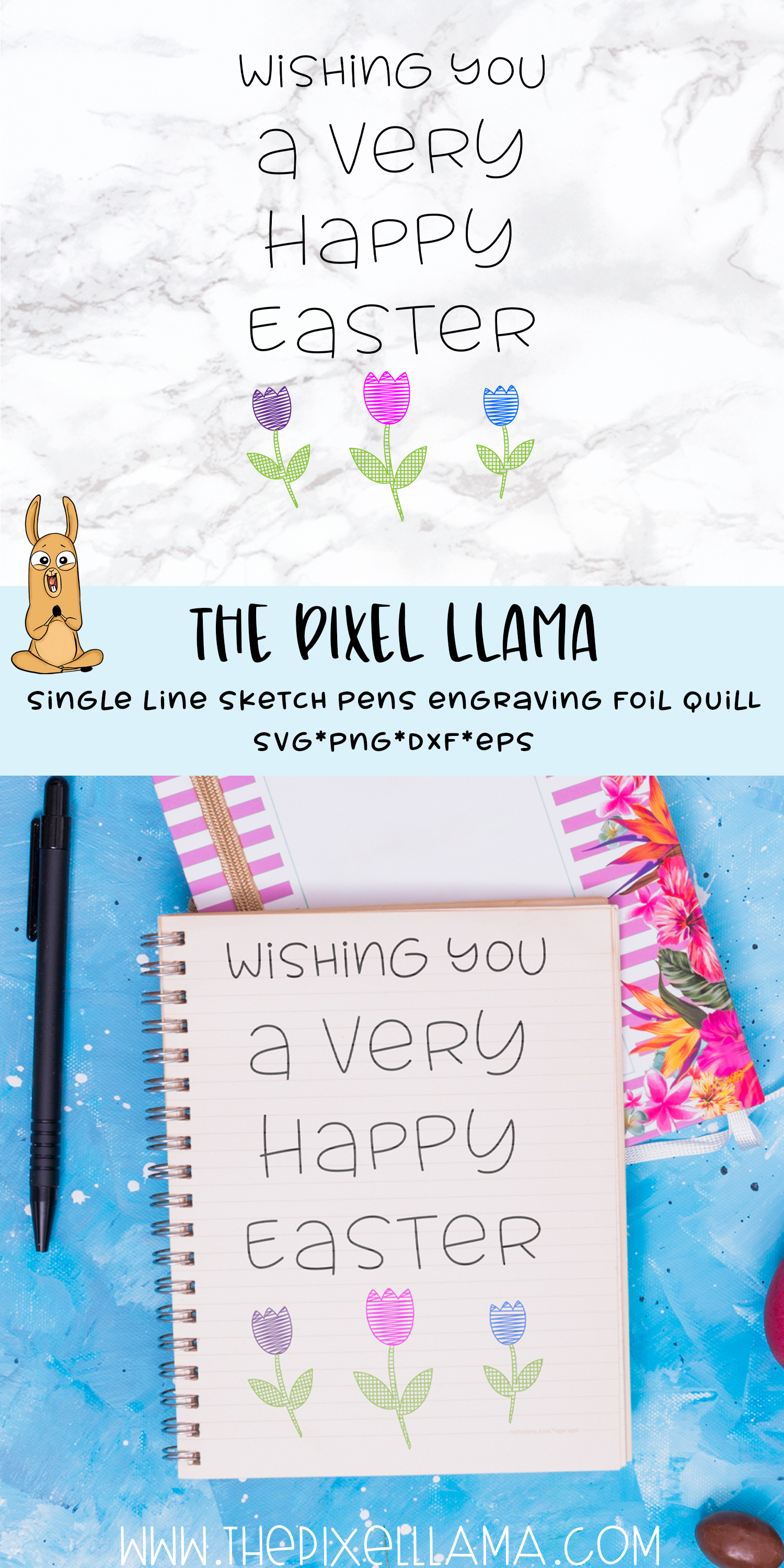 Wishing A Very Happy Easter Single Line Sketch Foil Quill example image 2