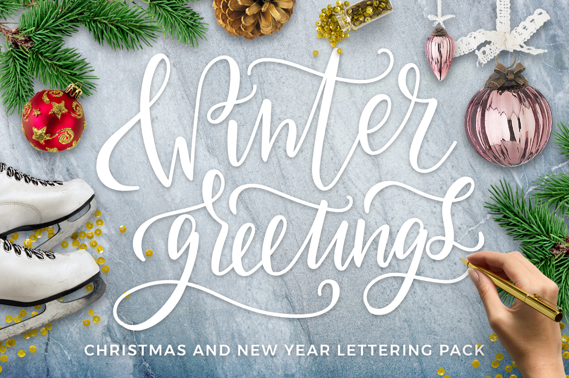 Winter Greetings Lettering Pack example image 1