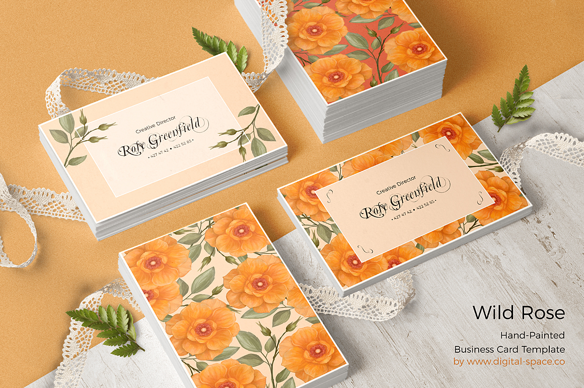 Peach Wild Rose Business Card Template example image 1