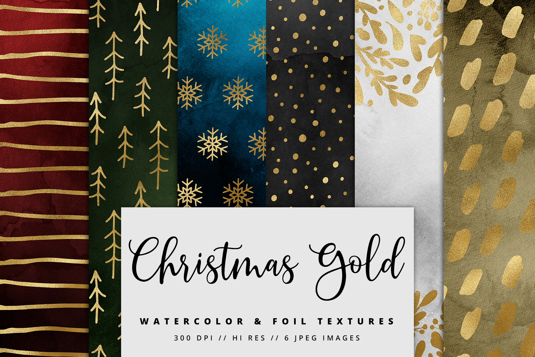 Christmas Gold Watercolor Foil Textures | 6 Pack example image 1