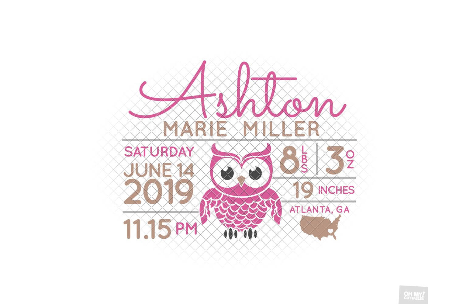 Owl Birth Stats SVG Announcement Template in SVG, DXF, EPS example image 4