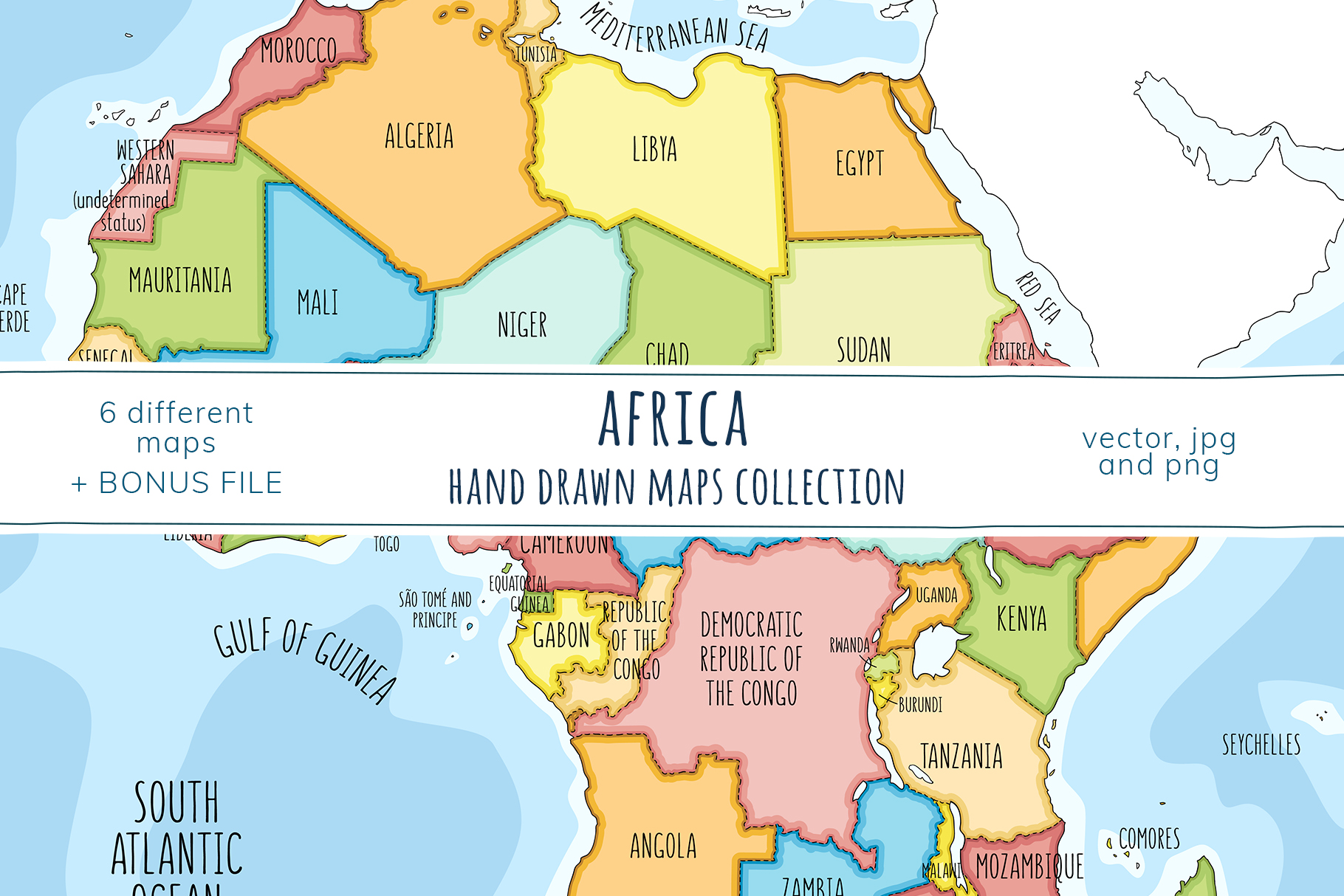 Maps of Africa. Hand drawn collection example image 1