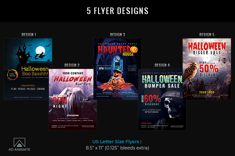 Halloween Big Bundle - flyers, banners, social media etc. example image 2