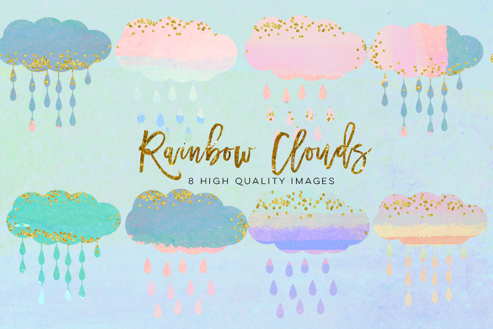 baby clouds clip art, Watercolor fluffy clouds and rain drops, digital papers, magical clipart, nursery art, children decor, whimsical example image 3