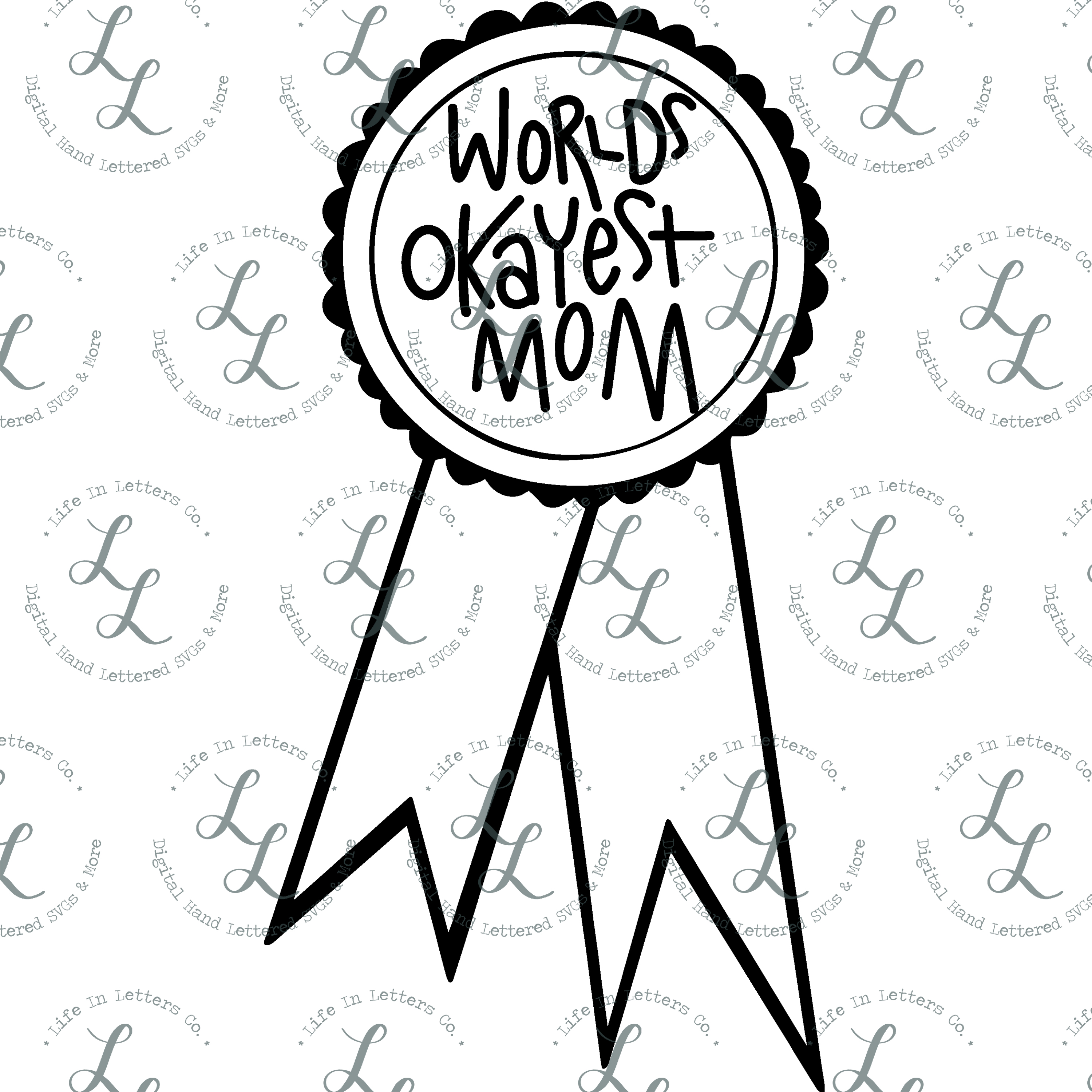 World's Okayest Mom Ribbon- Cut File, SVG, PNG, EPS, DXF example image 2