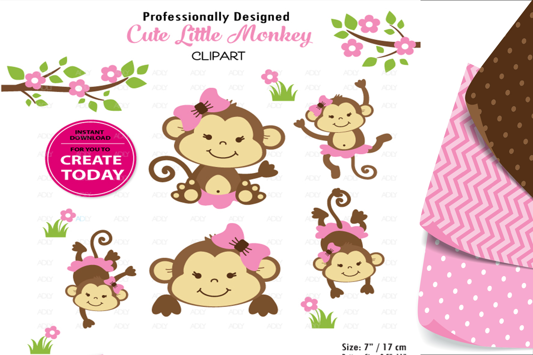 Baby Monkey Girl Sitting Pose with Bow and Flower Clipart example image 1