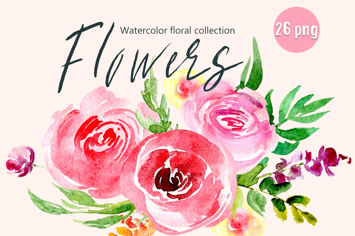 Watercolor red & pink flowers example image 1
