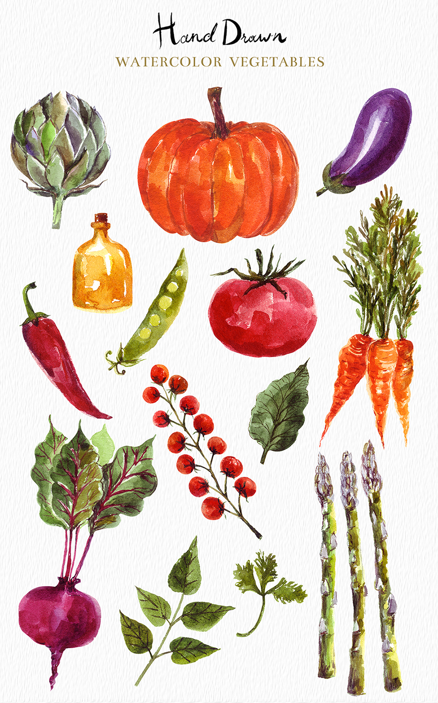 Watercolor vegetables & fruits example image 2