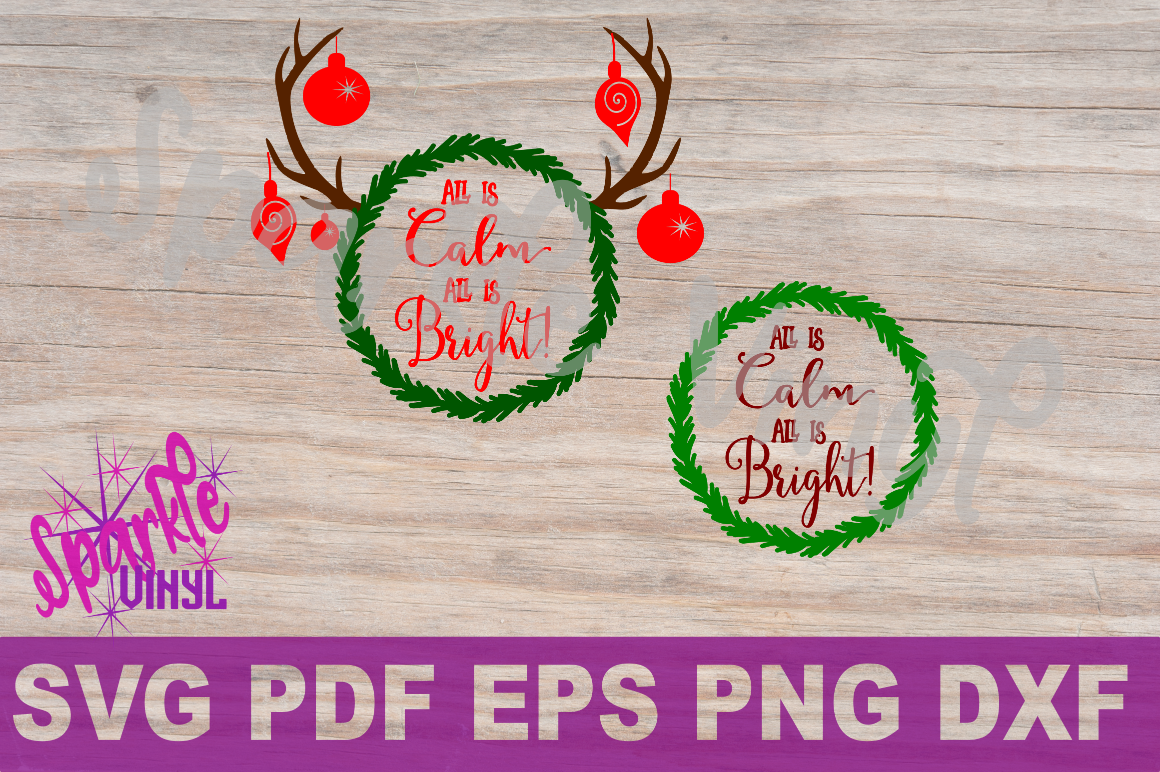 Svg Christmas wreath Antlers All is calm saying Christmas sign stencil  printable or svg dxf eps pdf png cut files for cricut or silhouette example image 1
