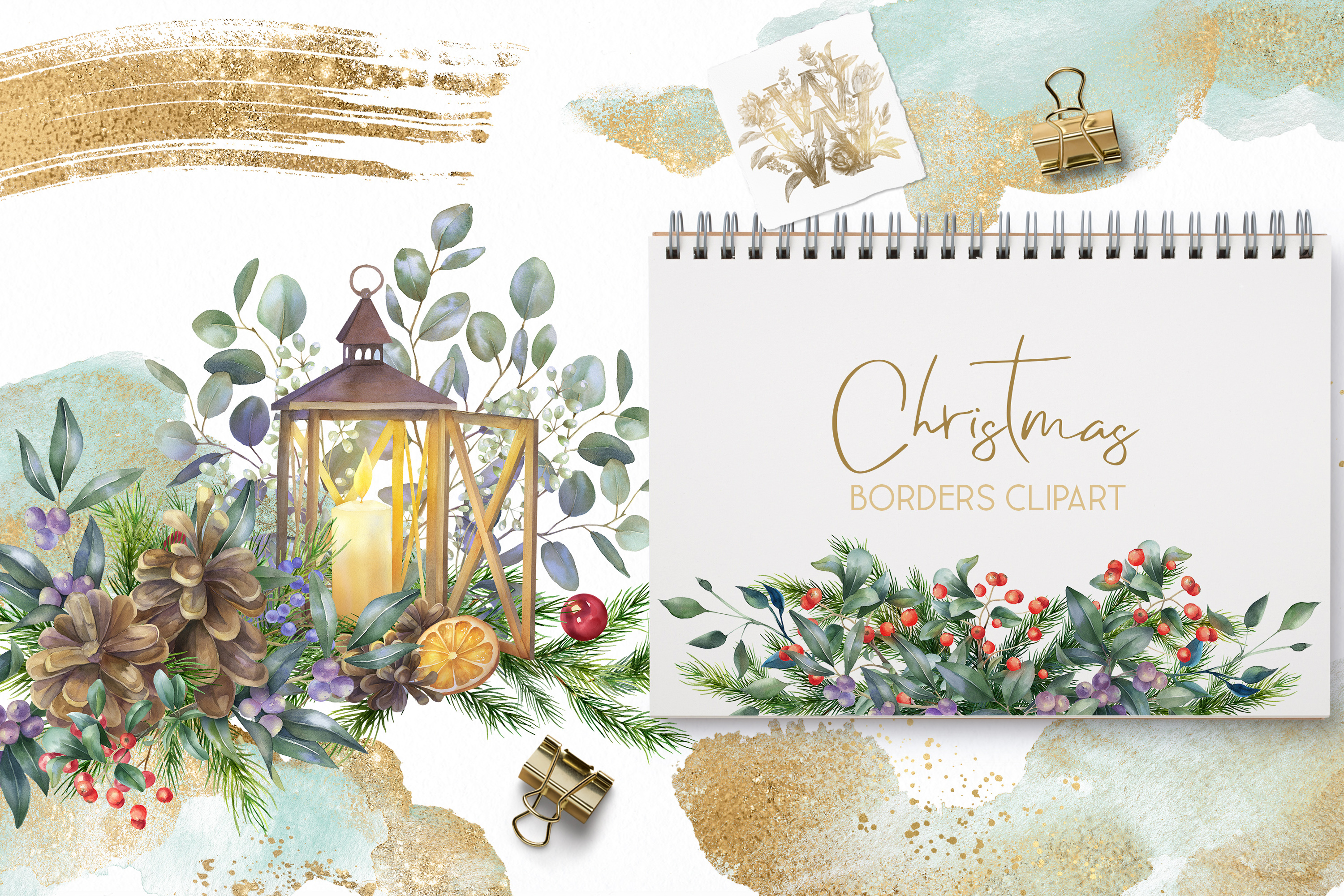 Christmas Watercolor Floral bouquets clipart, Winter wedding example image 4