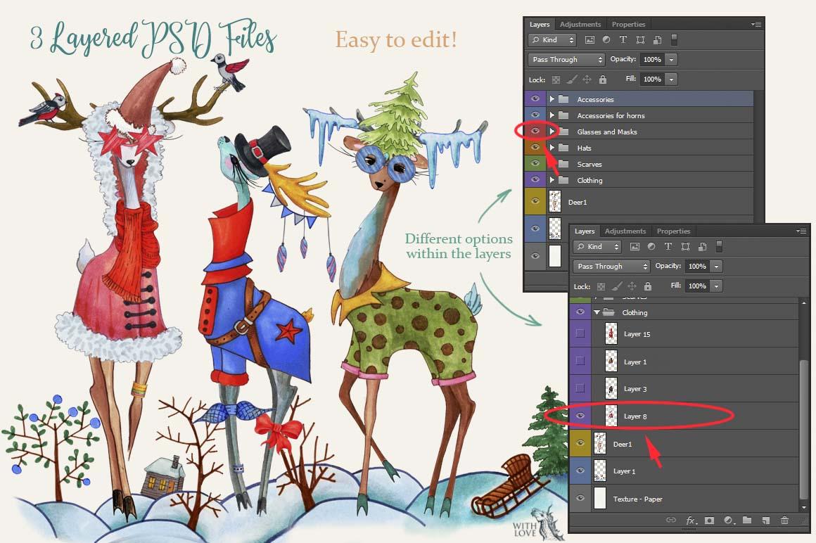 Fashion Christmas Deers Creator example image 2