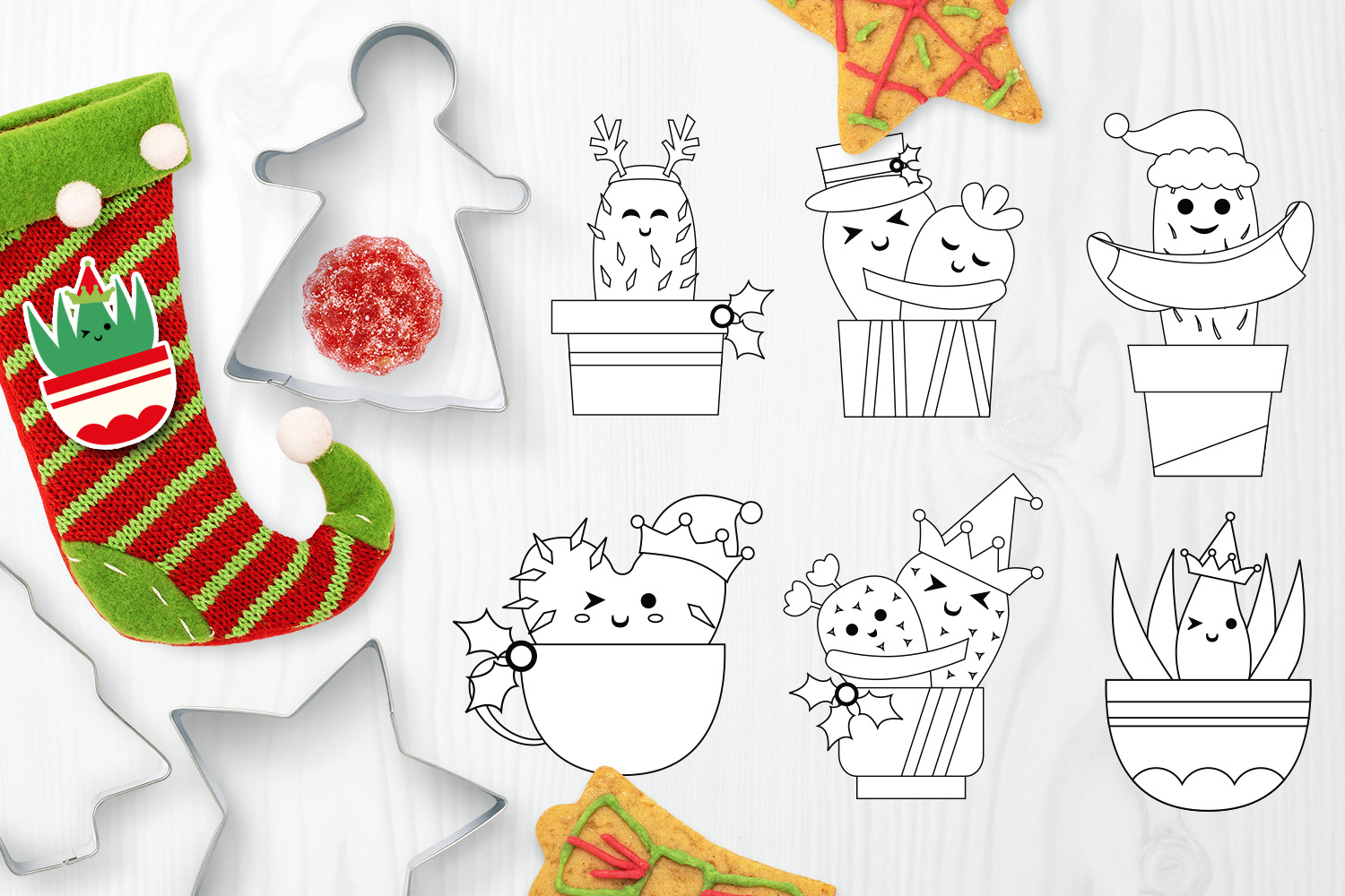 Christmas Bundle, Cactus and Flowers Illustrations example image 8