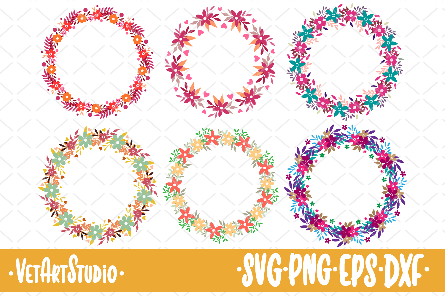 6 Round floral frames, circle laurel SVG, collection vector example image 1