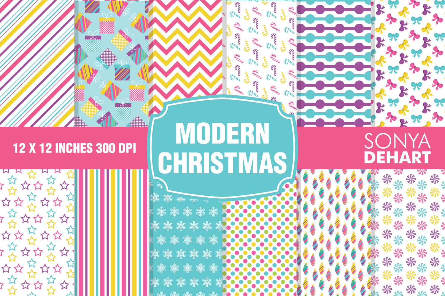 Modern Christmas Digital Paper Pattern Pack example image 1