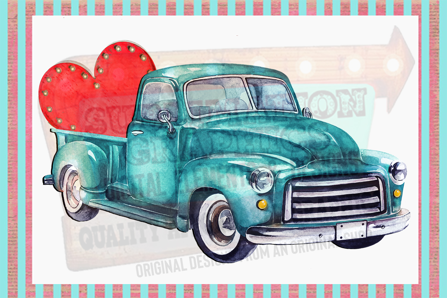 Valentines Truck Sublimation Digital Download example image 1