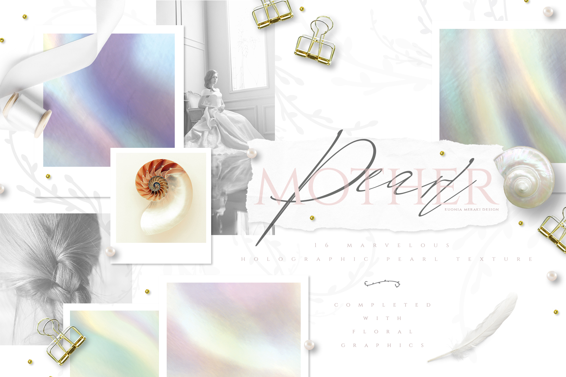 Holographic Pearl - Texture plus FREE Floral set example image 2