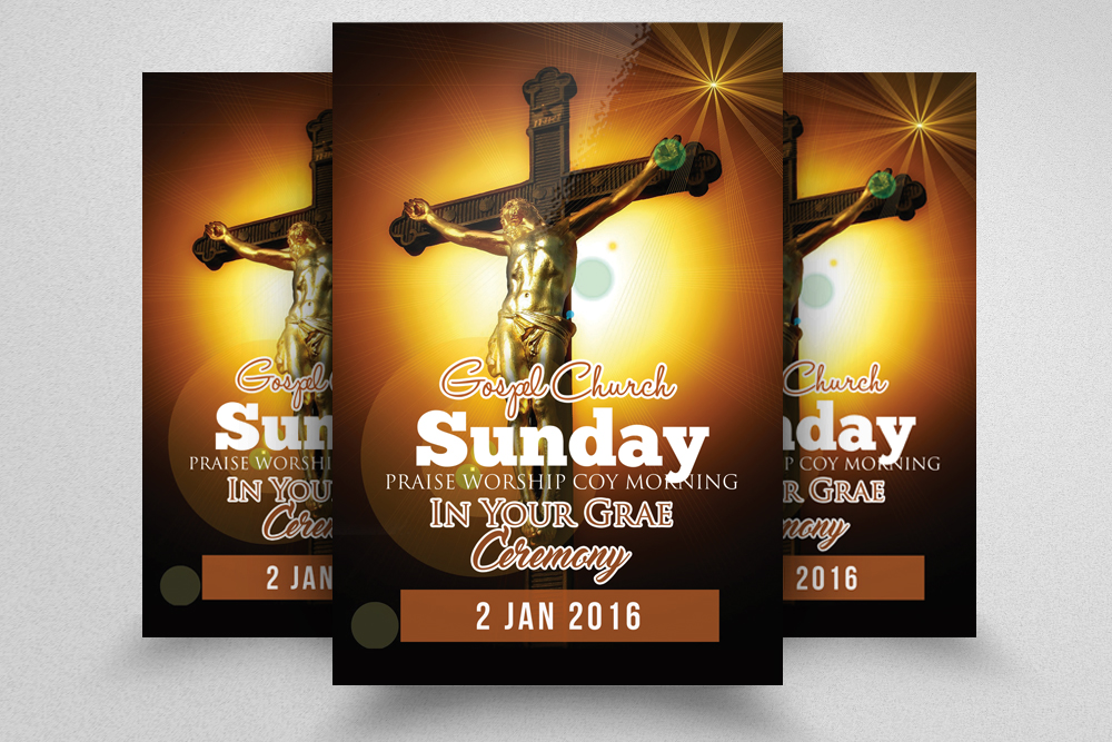 Cross Day Church Flyer Template example image 1