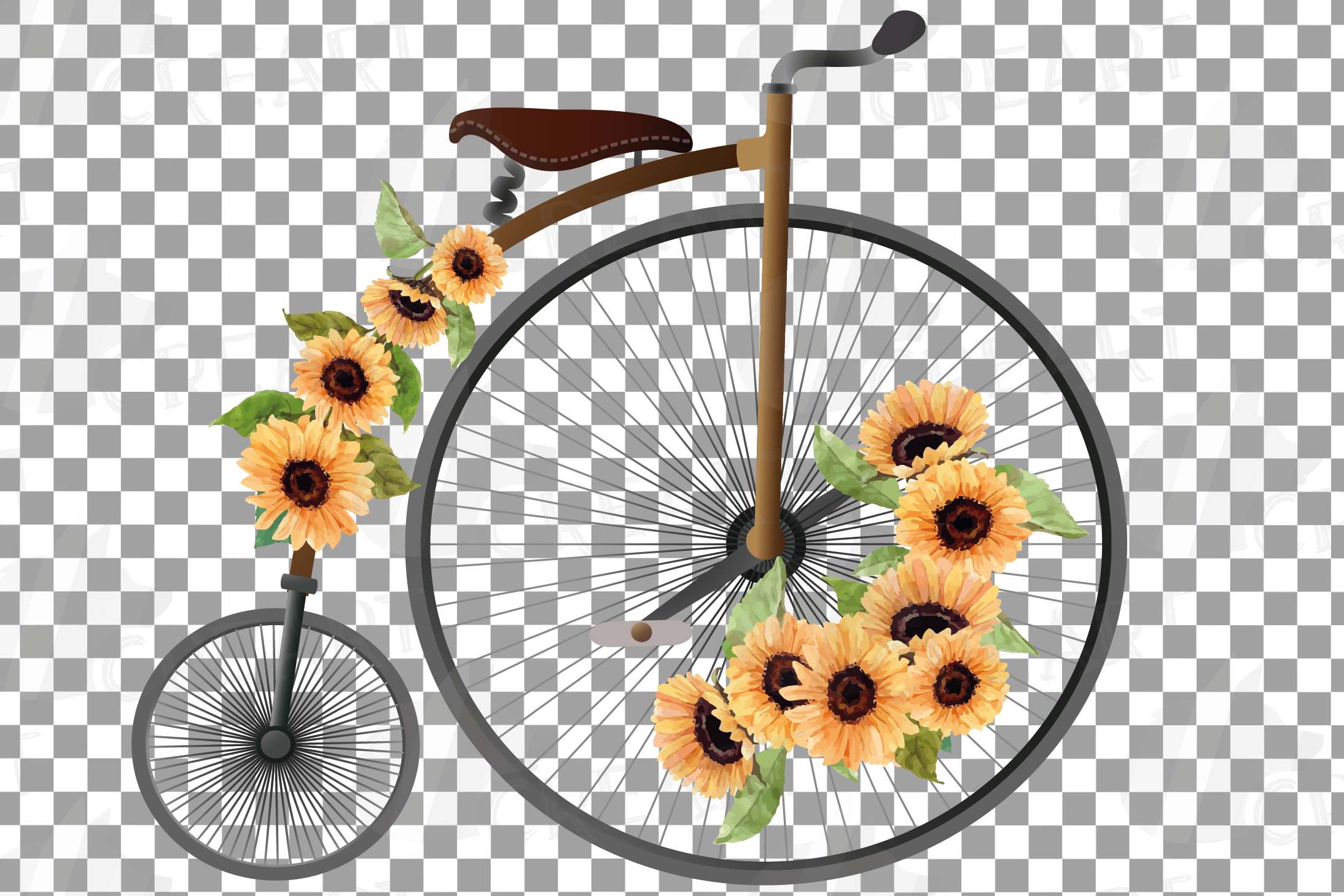 Sunflower bouquets high wheelers clip art. Floral bicycles example image 6