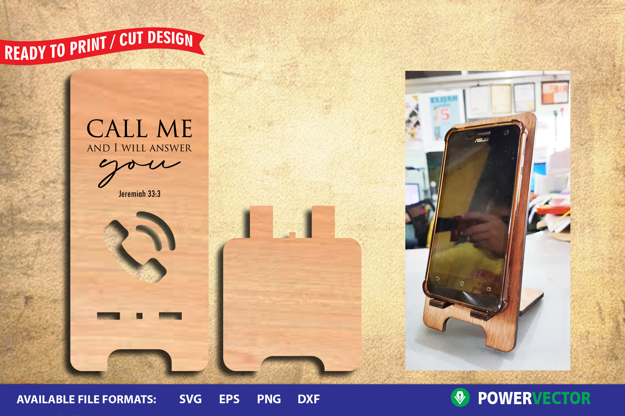 Cellphone Stand template for Laser, CNC Cutting Engraving example image 1
