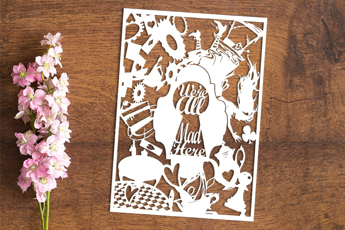 Falling Into Wonderland - Paper Cutting Template example image 1