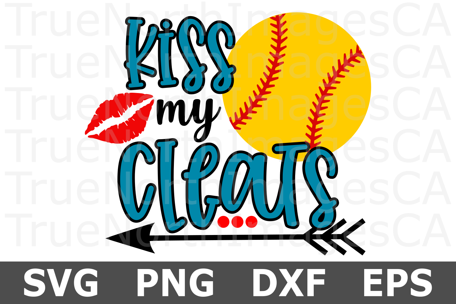 Kiss My Cleats Softball- A Sports SVG Cut File example image 2