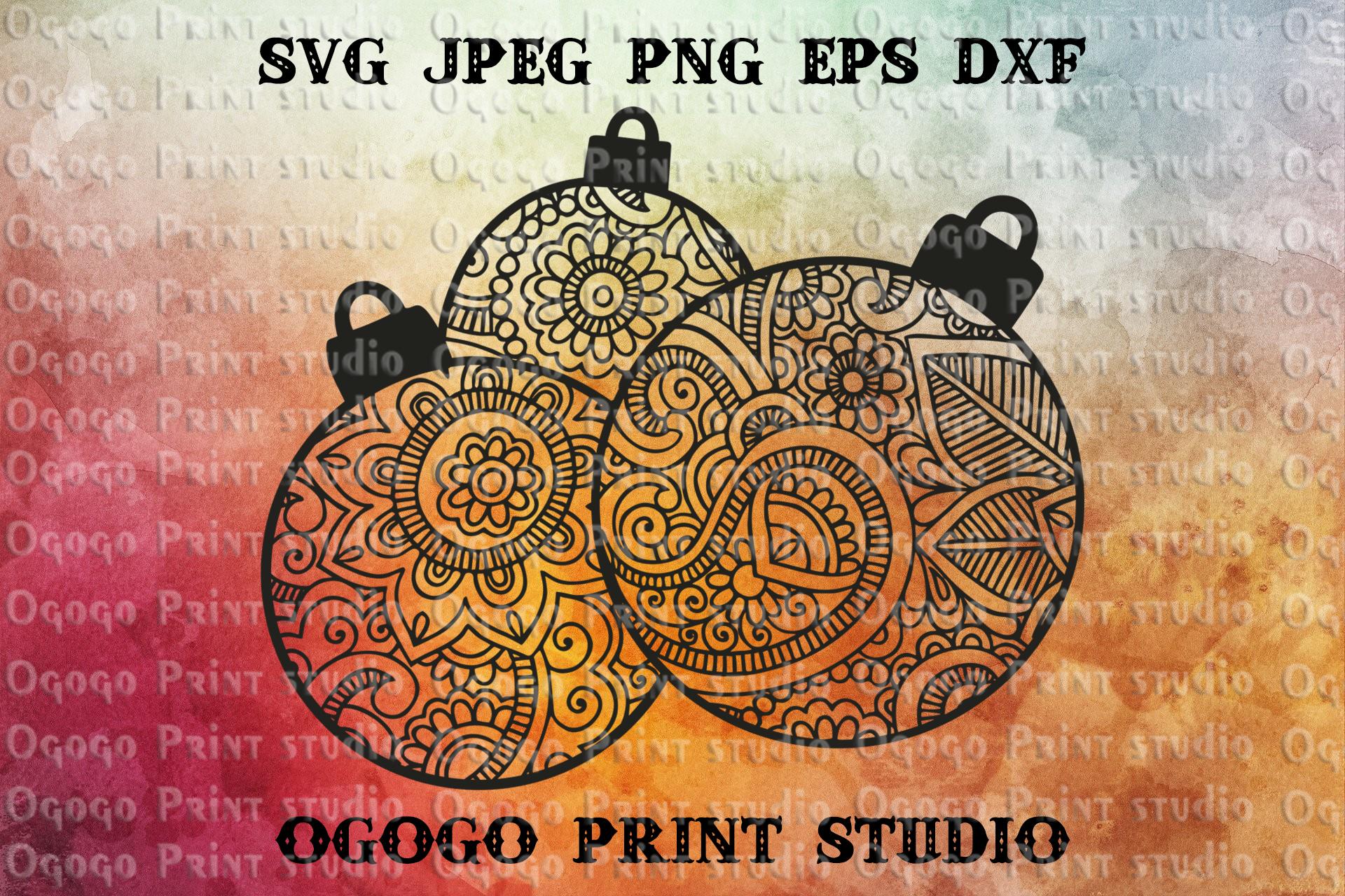 Mandala style Ornaments Svg, Christmas svg, Zentangle SVG example image 1