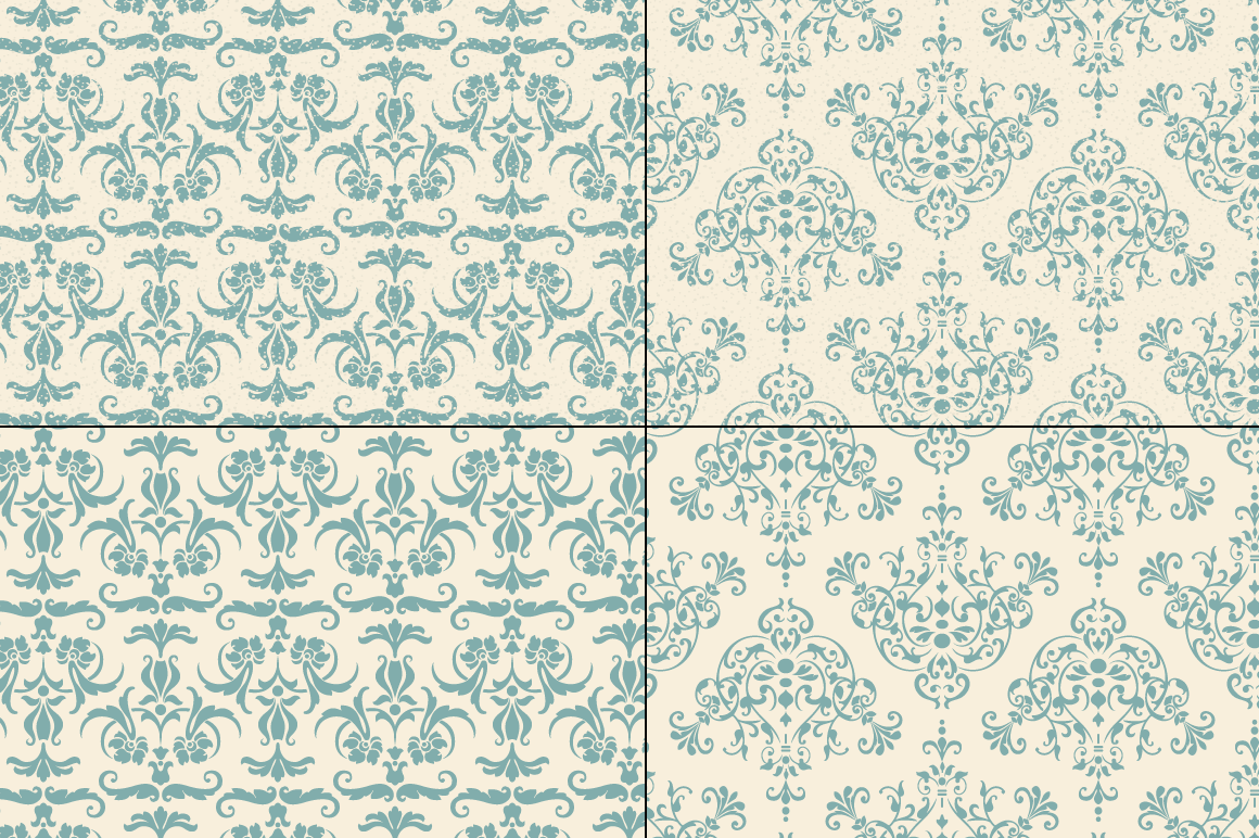 Seamless Blue Damask Patterns example image 3