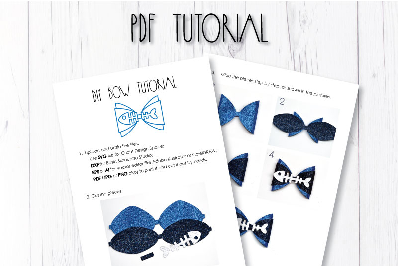Fish bone Hair bow template SVG, DIY leather bow template example image 3