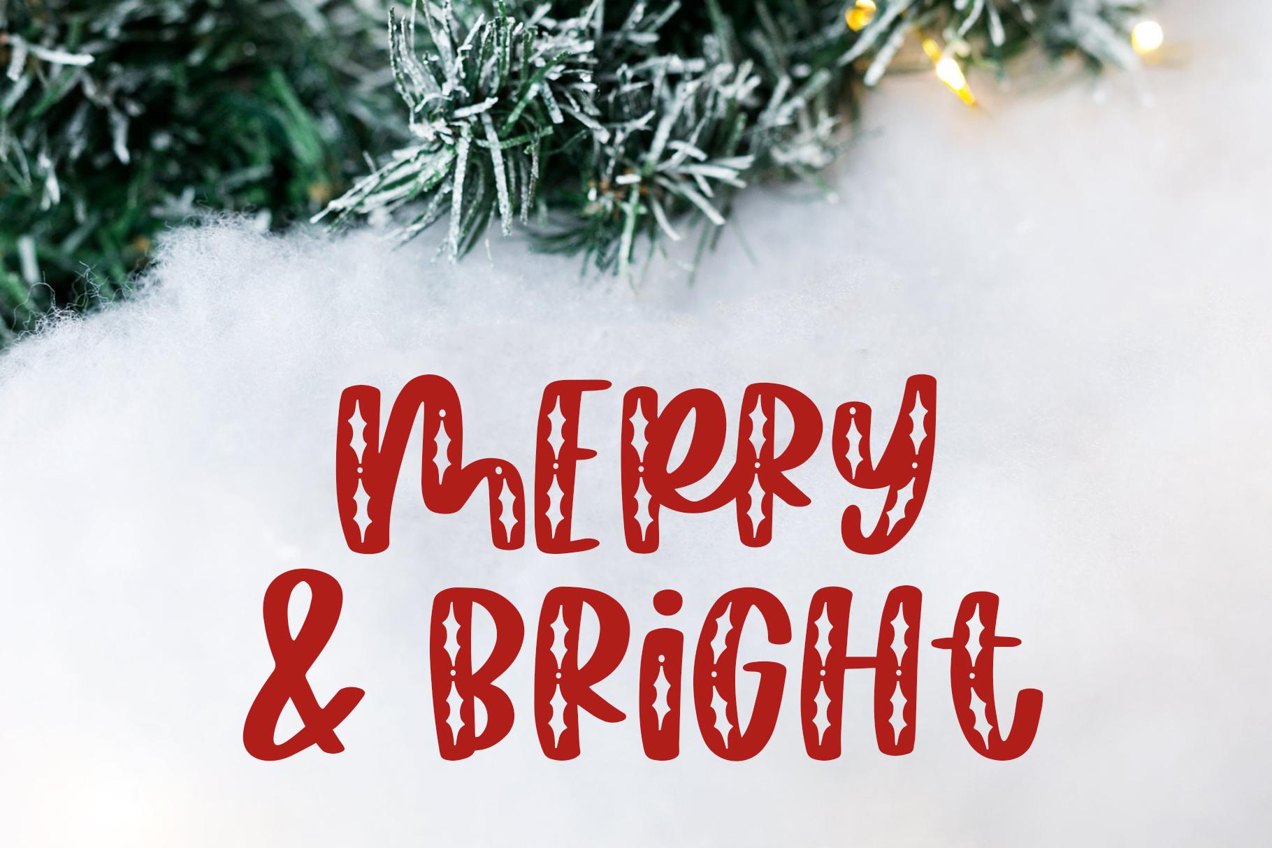 Happy Hollydays, A Christmas Mistletoe Font example image 4