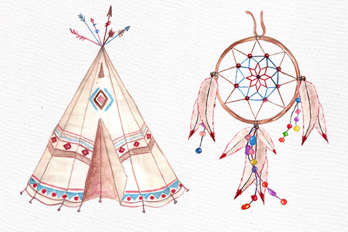 Watercolor Tribal clip art set example image 2
