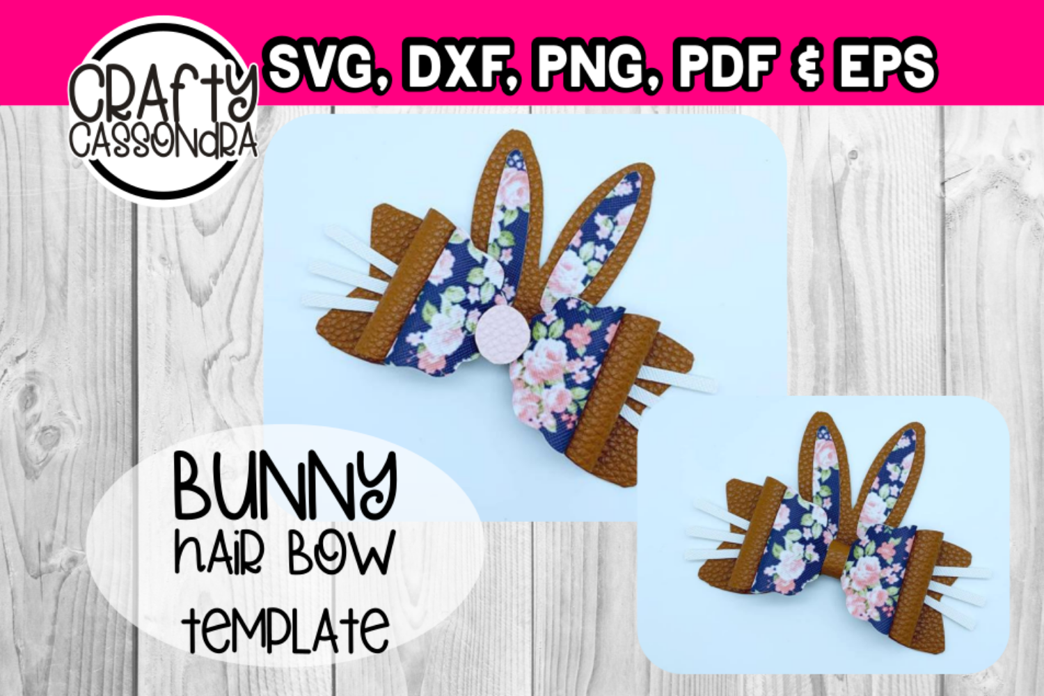 Hair bow - Faux leather diy project Bunny ear hair bows - example image 1
