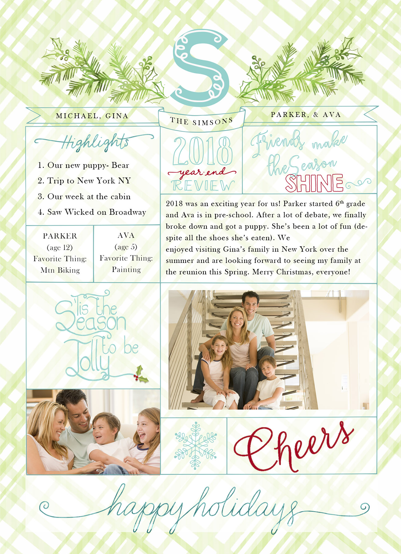 Christmas Year End Review Photo Card With Monogram 18-05 example image 5