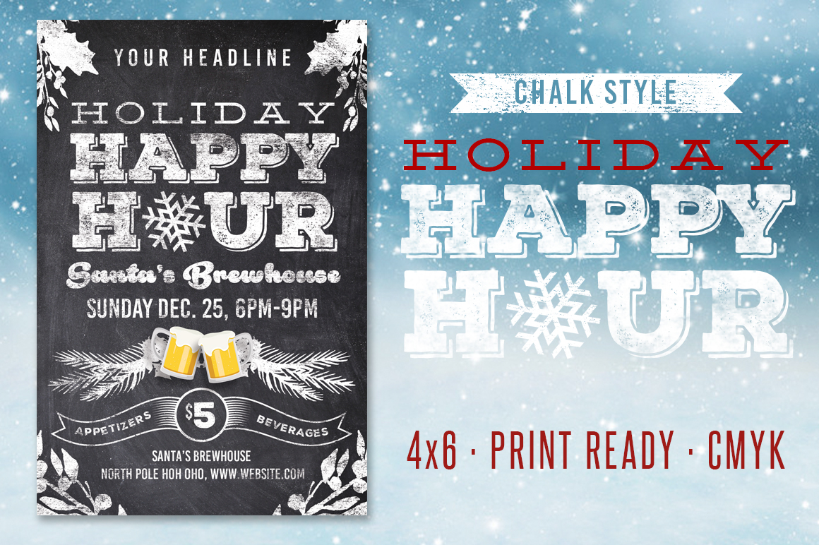 Chalk Holiday Happy Hour Flyer example image 1