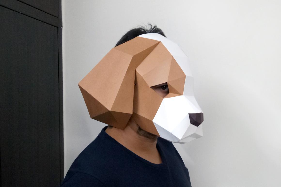 DIY Cocker Spaniel Mask - 3d papercraft example image 3