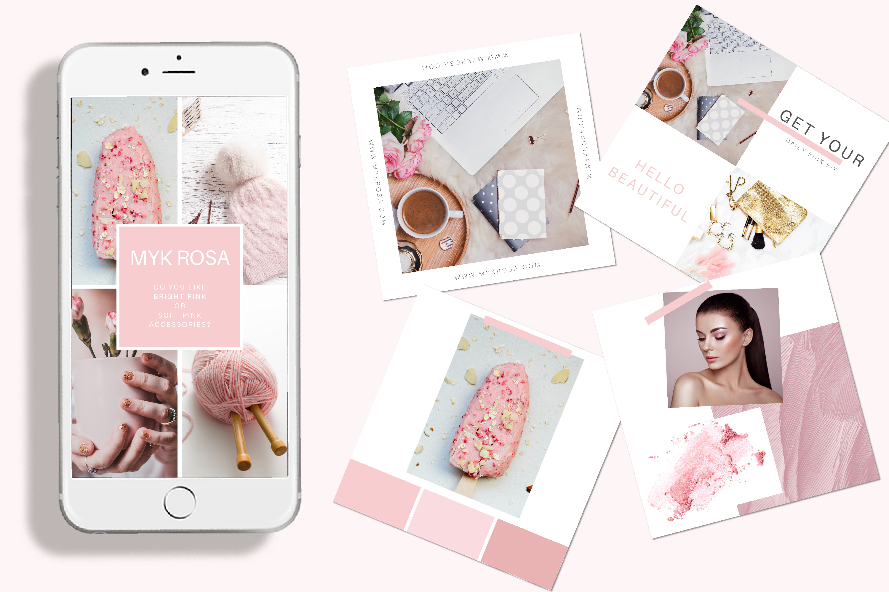 60 Instagram Post & Story Templates For Canva - Myk Rosa example image 2